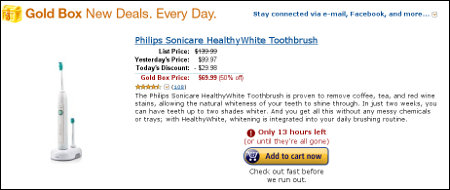 Amazon Deal of the Day - Philips Sonicare HealthyWhite Toothbrush - corrected