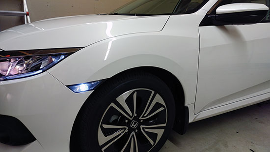 2017 Honda Civic side marker changed to smoked or clear with white LED bulb