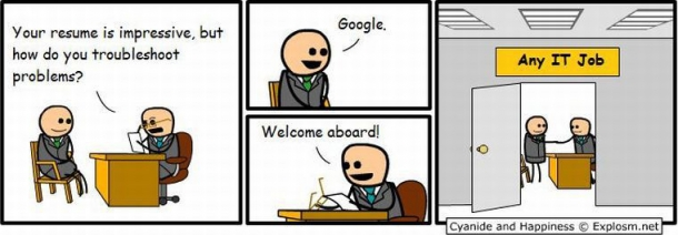 IT resume google troubleshooting - Cyanide and Happiness welcome aboard