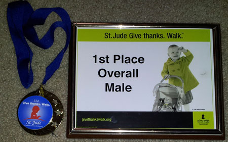 2012 St. Jude Give Thanks Walk - Saint Louis, MO - first-place medal and certificate