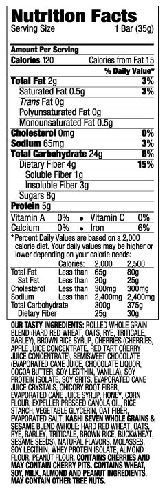 Kashi Cherry Dark Chocolate Chewy Granola Bar - Nutrition