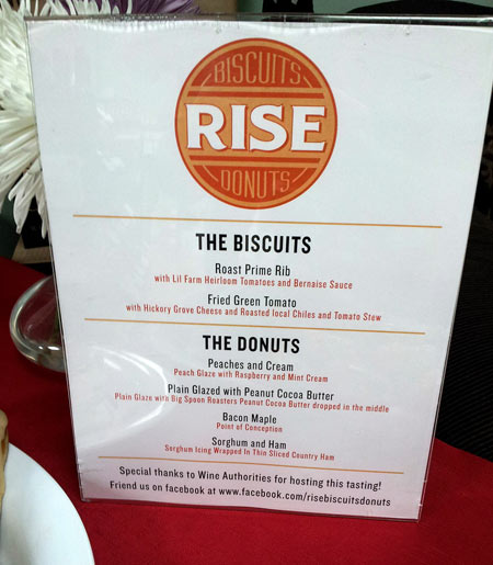 Rise Biscuits and Donuts - Wine Authorities sampling menu - 11 August 2012