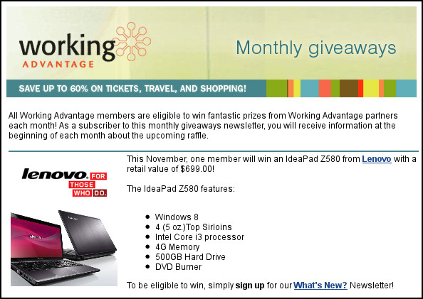 Working Advantage Lenovo IdeaPad Z580 November Giveaway features top sirloin steaks