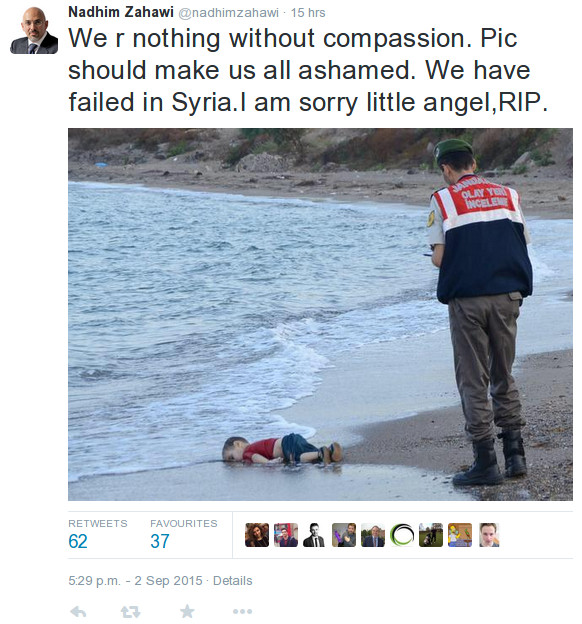 Twitter post by British MP Nadhim Zahawi about failing Syria