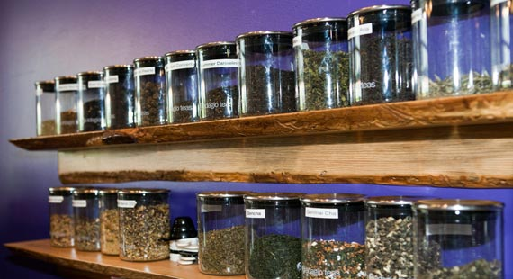 Comet Coffee's extensive tea selection