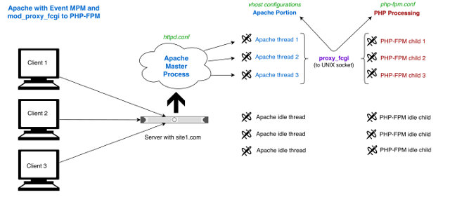 Apache Event MPM to PHP-FPM via mod_proxy_fcgi