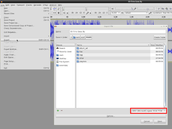 Using Audacity to fix FLAC to WAV unsupported format 3