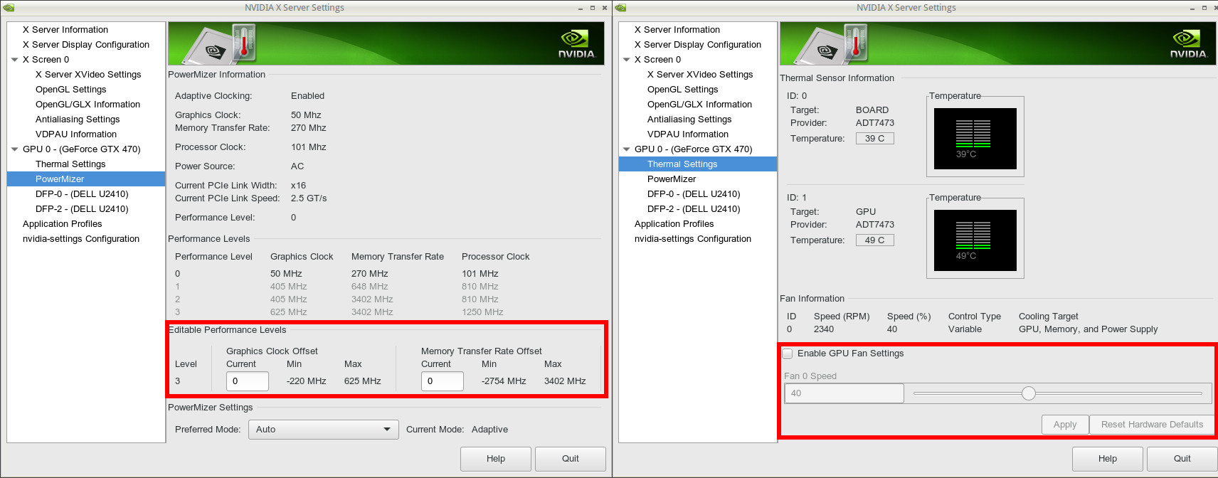 NVIDIA Linux drivers, PowerMizer, Coolbits, Performance Levels and