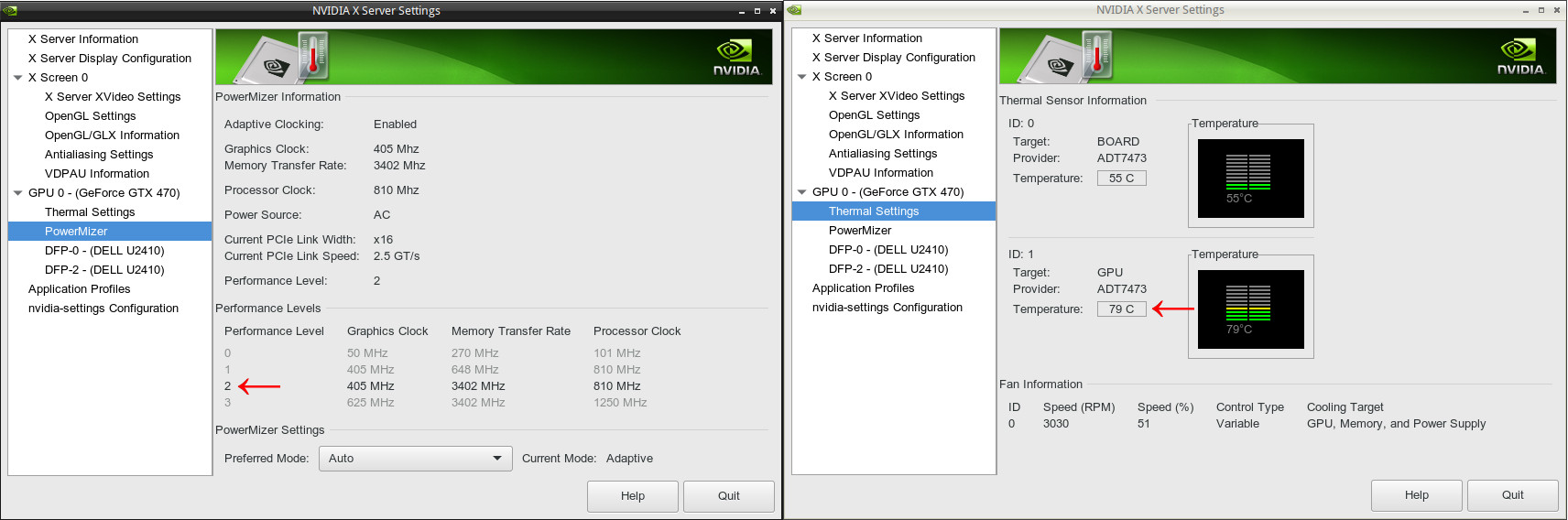 NVIDIA Linux drivers, PowerMizer, Coolbits, Performance