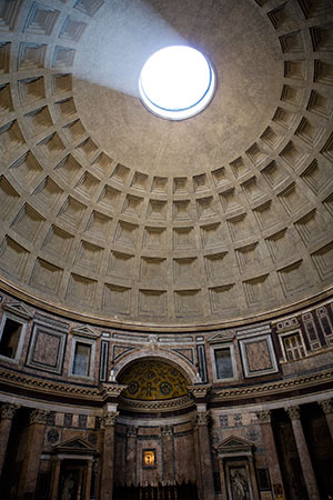 Rome - The Pantheon ceiling letting in beautiful light