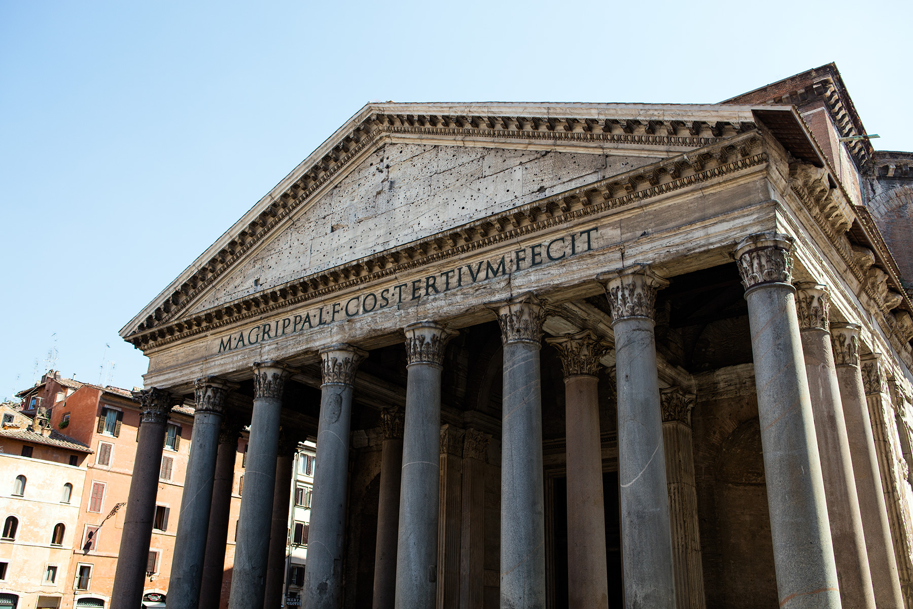 Rear view of Pantheon in Rome showing exterior roman brick ...   Pantheon Dome Exterior