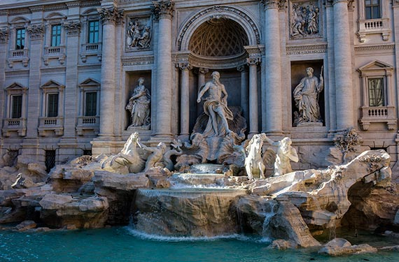 Rome - Trevi Fountain in the evening