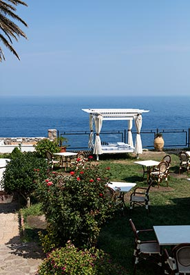 Seaside courtyard at Il Saracino hotel on Capraia Isola