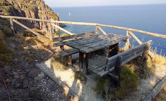 Capraia Isola - Zurletto Beach bench overlooking the Liguarian Sea