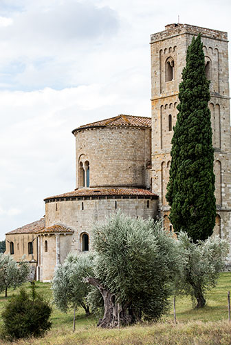 Outside Sant'Antimo Abbey in Montalcino