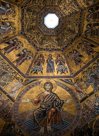Beautiful ceiling of the Baptistery of St. John in Florence, Italy