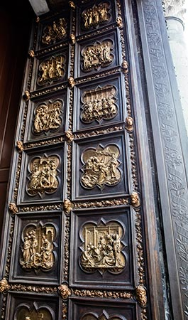 Ornate doors of the Baptistery of St. John in Florence, Italy