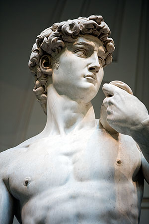 Michelangelo's David at the Accademia Gallery in Florence