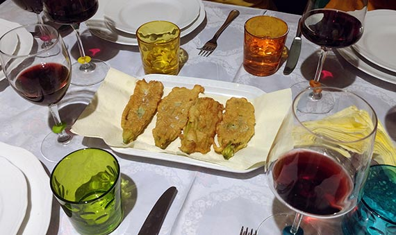 Fried Zucchini blossoms at Cook Eat Italian cooking class in Florence