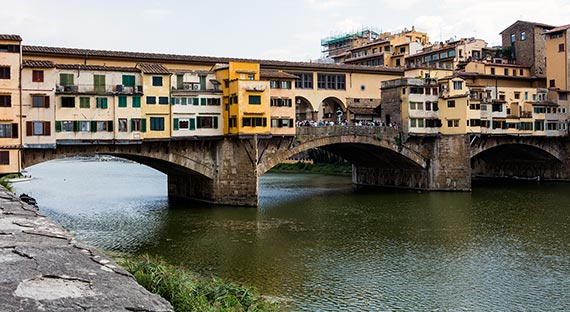 Ponte Vecchio bridge and shops in Florence, Italy