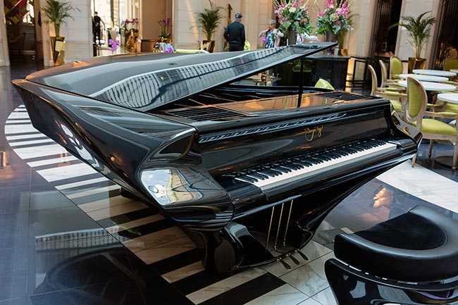 Budapest - The custom-built grand piano in the music garden at the Hotel Aria