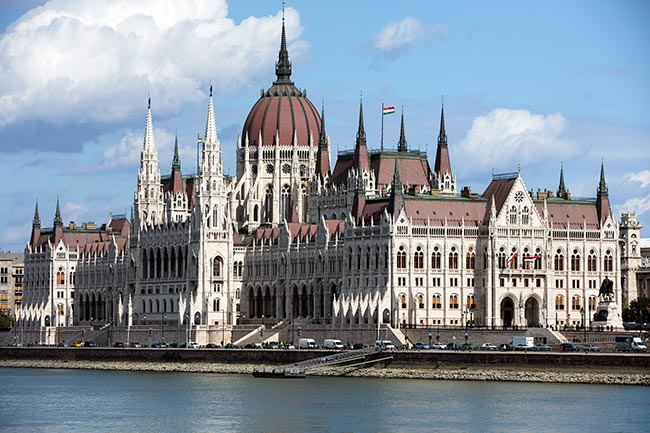 Budapest - beautiful view of the Hungarian Parliament Building from west of the Danube