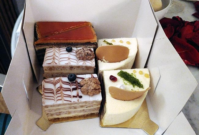 Enjoying our desserts (The Dobos, Esterházy, and Émile cakes) from Café Gerbeaud