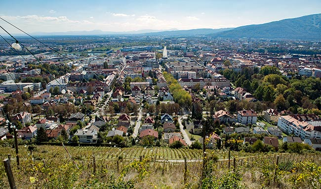 View of Maribor from atop Piramida at Mestni Park