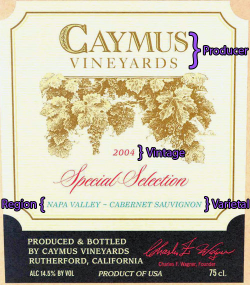 Reading a New World wine label - Caymus Vineyards Special Selection