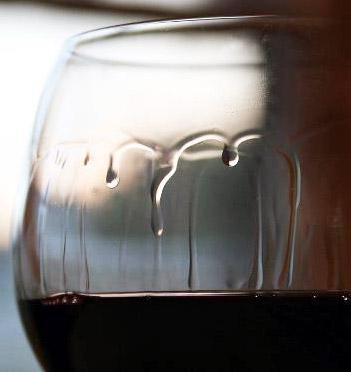 Wine legs or tears on glass